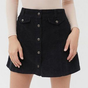 Corduroy Button-Front Mini Skirt